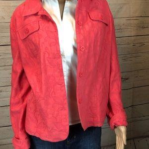 Croft & Barrow Coral Denim Style Jacket 2X EUC